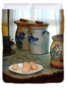 Brown Eggs And Ginger Jars Duvet Cover