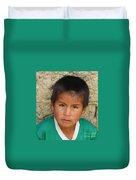 Brown Eyed Bolivian Boy Duvet Cover
