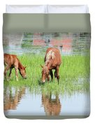 Brown Horse And Foal Nature Spring Scene Duvet Cover