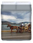 Brown Horse Drawn Carriage Duvet Cover