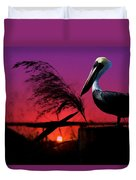 Brown Pelican At Sunset - Painted Duvet Cover