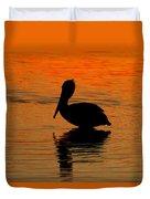 Brown Pelican At Sunset Duvet Cover