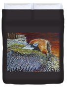 Brown Pelican Duvet Cover