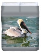 Brown Pelican In The Bay Duvet Cover
