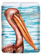 Brown Pelican Portrait Duvet Cover