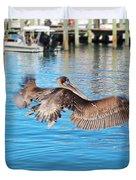 Brown Pelican Taking Flight Duvet Cover