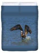 Brown Pelican Taking Off Duvet Cover