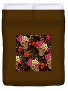 Brown Skulls And Flowers Duvet Cover