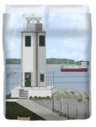 Browns Point Lighthouse On Commencement Bay Duvet Cover