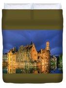 Bruges At Night, Belgium Duvet Cover