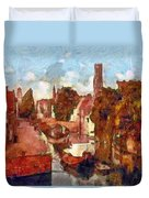 Bruges Canal View Duvet Cover