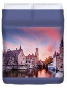Bruges Sunset Duvet Cover by Barry O Carroll