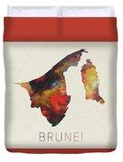 Brunei Watercolor Map Duvet Cover