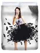 Brunette Pin-up Woman In Gorgeous Feather Skirt Duvet Cover