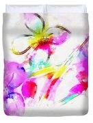 Brushed Abstract Flowers Duvet Cover