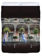 Bubbles Blow From An Ornate Balcony In New Orleans At Mardi Gras Duvet Cover