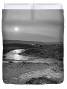 Bubbling Hot Spring In Yellowstone National Park Bw Duvet Cover