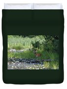 Buck In Pond Duvet Cover