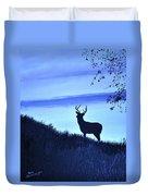 Buck Silhouette In Blue Duvet Cover