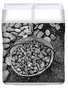 Bucket Of Rocks In Black And White Duvet Cover