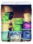 Buckets Of Liquid Paint Standing In A Workshop. Duvet Cover