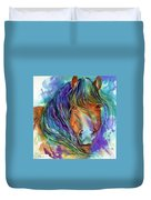 Bucky The Mustang In Watercolor Duvet Cover