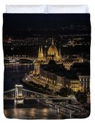 Budapest View At Night Duvet Cover