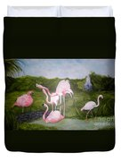 Buddah And The Flamingos Duvet Cover
