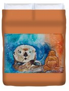 Buddha And The Divine Otter No. 1374 Duvet Cover