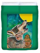 Buddha And The Divine Wolf No. 1370 Duvet Cover