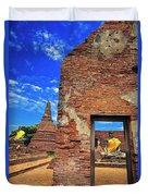 Buddha Doorway At Wat Worachetha Ram In Ayutthaya, Thailand Duvet Cover