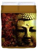 Buddha In Red Chrysanthemums Duvet Cover