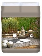 Buddha Looks At Yin And Yang Duvet Cover