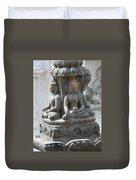 Buddha Statue At Temple - Swayambunat  Duvet Cover