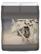 Buddhist Cleric Nichiren In Exile And Homage To Yoshitoshi Duvet Cover