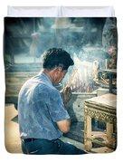 Buddhist Way Of Praying Duvet Cover