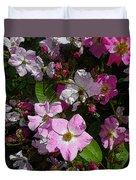 Buds And Petals- Pink Roses- Rose Bush- Floral Art Duvet Cover