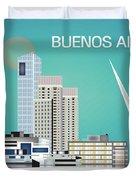 Buenos Aires Argentina Horizontal Skyline - Blue Duvet Cover