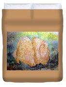 Buff Orpington Hens In The Garden Duvet Cover