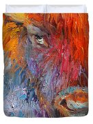 Buffalo Bison Wild Life Oil Painting Print Duvet Cover