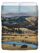 Buffalo By A Stream Duvet Cover