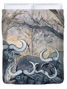 Buffaloes In The Bushveld Duvet Cover