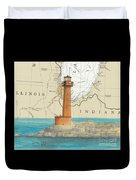 Buffington Harbor Lighthouse In Nautical Chart Map Duvet Cover