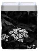 Bug On Flowers Black And White Duvet Cover