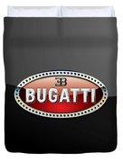 Bugatti - 3 D Badge On Black Duvet Cover