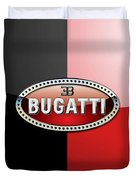 Bugatti 3 D Badge On Red And Black  Duvet Cover