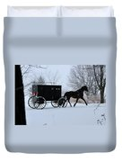 Buggy On Winter Road Duvet Cover