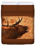 Bugling Bull Elk Autumn Background Duvet Cover