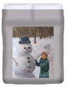 Building A Snowman  Duvet Cover
