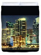 Building At Night With Lights Duvet Cover